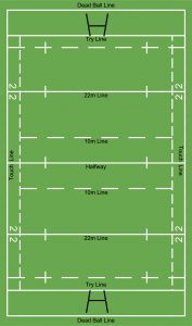 rugby pitch with lines and hashes